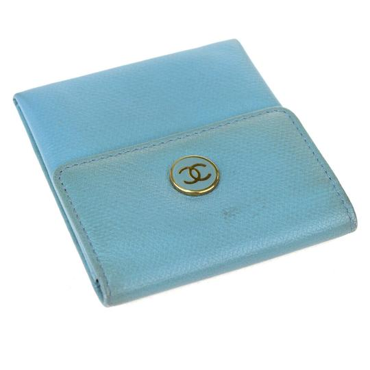 Chanel Authentic CHANEL CC Logo Coin Case Wallet Leather Parse Green Blue Image 3