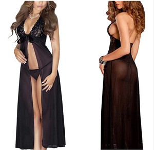 Black Plus Size Sexy Lace Long Lingerie Robe Dress L