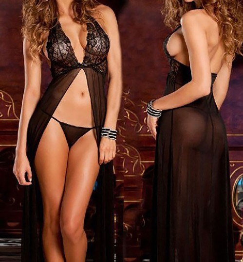 Black Plus Size Sexy Lace Long Lingerie Robe Dress L Image 1