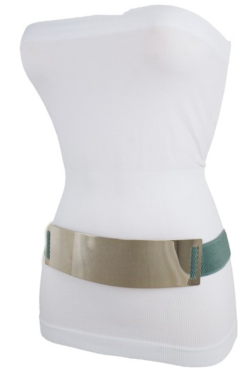 Alwaystyle4you Women Teal Blue Stretch Fashion Belt Gold Metal Plate Buckle S M Image 11