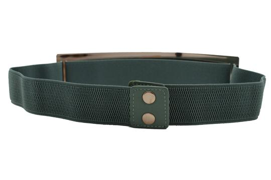 Alwaystyle4you Women Teal Blue Stretch Fashion Belt Gold Metal Plate Buckle S M Image 4