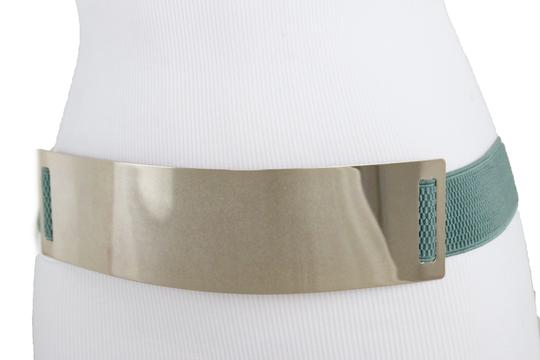 Alwaystyle4you Women Teal Blue Stretch Fashion Belt Gold Metal Plate Buckle S M Image 5