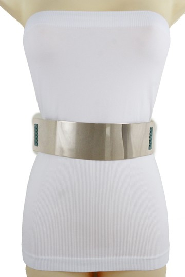 Alwaystyle4you Women Teal Blue Stretch Fashion Belt Gold Metal Plate Buckle S M Image 8