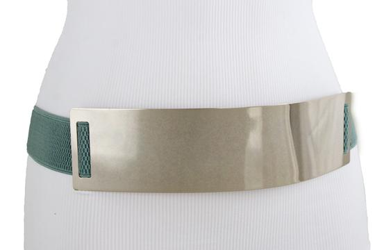 Alwaystyle4you Women Teal Blue Stretch Fashion Belt Gold Metal Plate Buckle S M Image 9