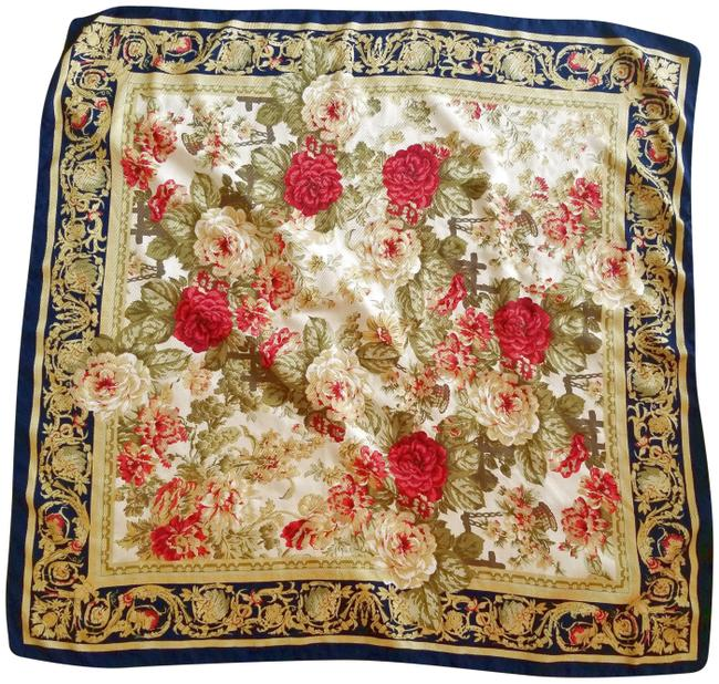 Item - Blue Red Ecru Square Shawl Ivory Floral Scarf/Wrap
