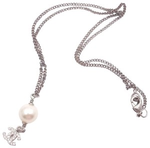 Chanel Chanel 5 Silver CC Crystal Faux Pearl Long Necklace