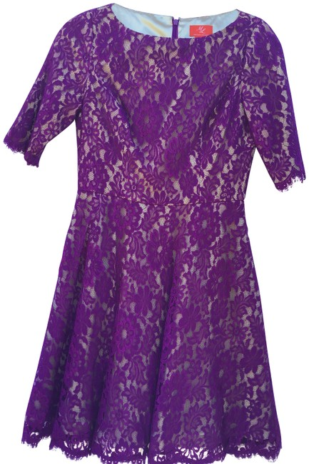 Item - Purple and Nude 442939 Mid-length Cocktail Dress Size 6 (S)