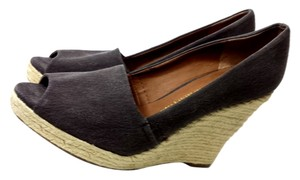 Franco Sarto Canvas Brown Hemp Heels Dark Brown Wedges