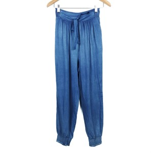 Rebecca Taylor Tissue Denim Chambray Joggers High Rise Wide Leg Relaxed Pants Blue