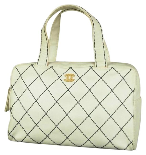 Item - Supermodel Wild Stitch Gold Quilted White Lambskin Leather Satchel