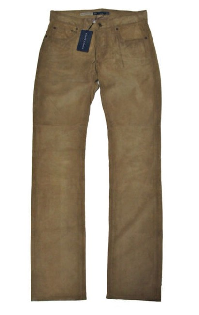 Item - Brown Suede Polo Womens Leather Cowboy Pants Boot Cut Jeans Size 25 (2, XS)