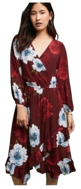 Item - Red Aleah Floral Print Plenty Tracy Reese Wrap Mid-length Short Casual Dress Size Petite 8 (M)