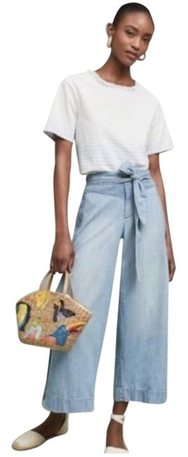 Anthropologie Blue Light Wash Pilcro and The Letterpress Cropped Denim Pants Trouser/Wide Leg Jeans Size 27 (4, S) Anthropologie Blue Light Wash Pilcro and The Letterpress Cropped Denim Pants Trouser/Wide Leg Jeans Size 27 (4, S) Image 1