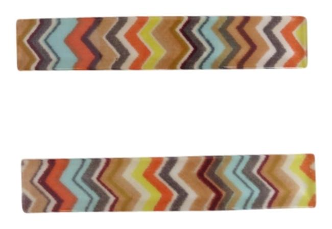 Item - Coral Teal Brown Zig Zag 2 Pc. Barrette Hair Accessory