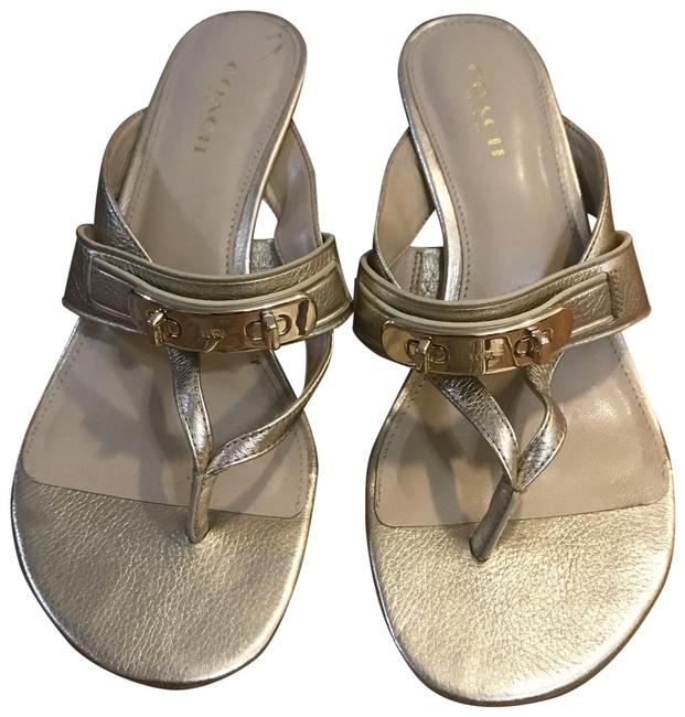 Item - Gold Leather Slippers Sandals Size US 6 Regular (M, B)