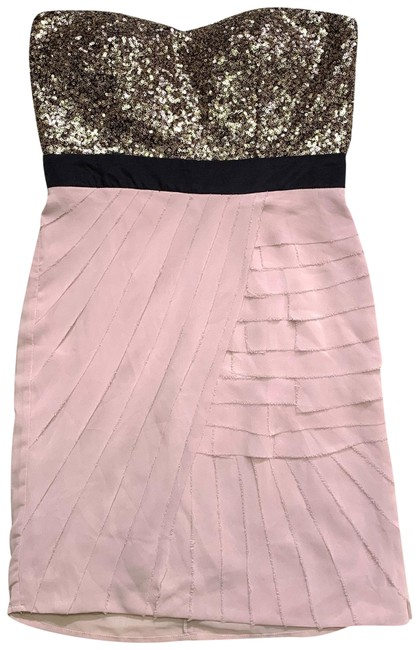 Item - Gold and Cream Strapless Sequined Short Cocktail Dress Size 2 (XS)