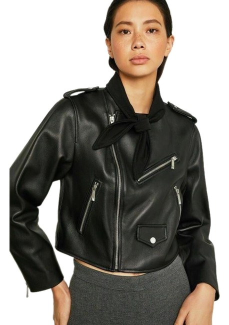 BCBGMAXAZRIA Black Aubree Tie-neck Cropped Leather Moto Jacket Size 2 (XS) BCBGMAXAZRIA Black Aubree Tie-neck Cropped Leather Moto Jacket Size 2 (XS) Image 1