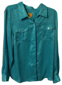 Ruby Rd. Button Down Shirt Blue