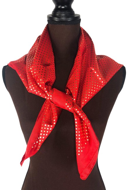 Item - Red Foulard Silk 519591 Scarf/Wrap