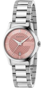 Gucci Stainless Steel G Timeless Pink Diamante Dial YA126524 Womens