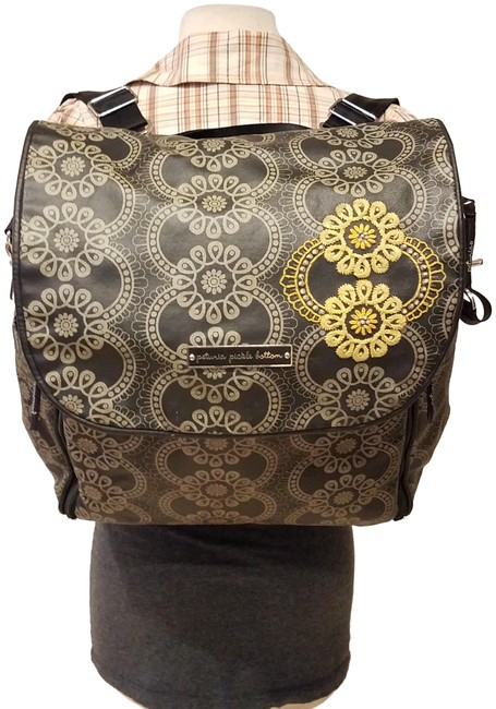 Item - Shoulder Backpack Convertible Floral Black/Gray Nylon Diaper Bag