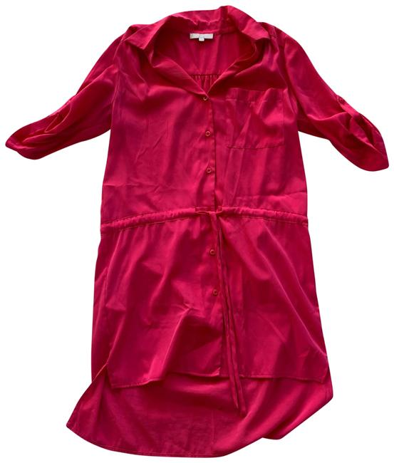 Item - Hot Pink Polyester Drawstring Collared Small Mid-length Work/Office Dress Size 4 (S)