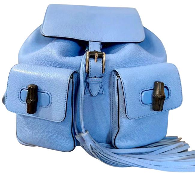Item - Pelham Shoulder Bag Glossy Pebbled Medium Bamboo Blue Leather Backpack