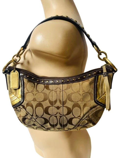 Coach Studded Monogram Brown/Gold Canvas/Leather Hobo Bag Coach Studded Monogram Brown/Gold Canvas/Leather Hobo Bag Image 1