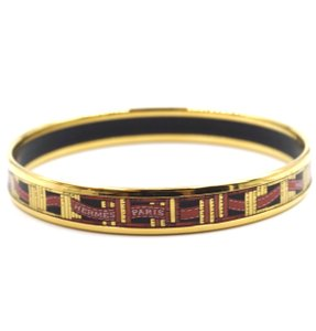 Hermès logo enamel plated skinny Gold Bangle bracelet cuff hardware