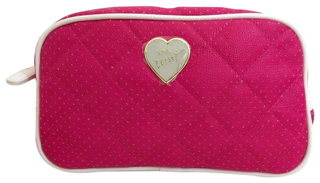 Item - Cosmetic Makeup Case Fuchsia Pink with Beige Trim Faux Leather Clutch