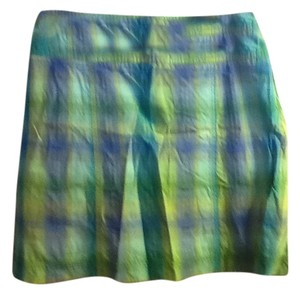 White Stag Plaid Striped Comfortable Casual Skort Blue/Turquoise/Blue