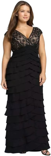 Item - Black Lace and Shutter Pleat Gown Long Night Out Dress Size 22 (Plus 2x)