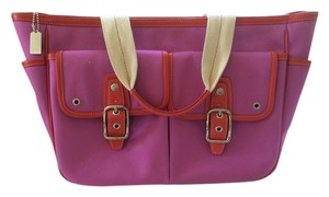 Coach Tote in Hot pink and red trim