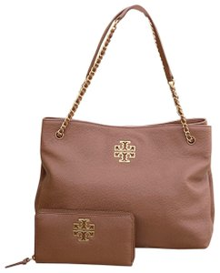 Tory Burch Leather 2pcs Set Holiday Gift Tote in bark