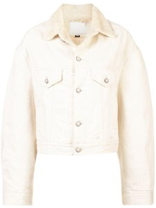 R13 Shearling Button Down Oversized Ivory Womens Jean Jacket