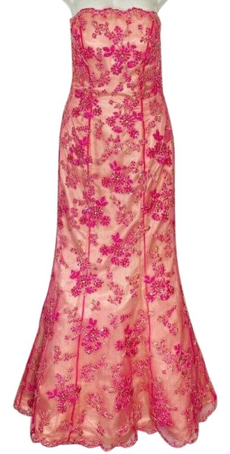 Item - Pink Beaded Gown Floral Prom Formal Strapless Mermaid Holiday Long Cocktail Dress Size 4 (S)