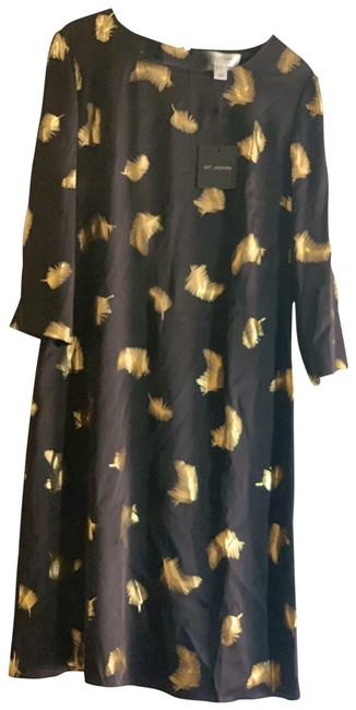 Item - Black with Gold Leaves Caviar/Gold Mid-length Formal Dress Size 6 (S)