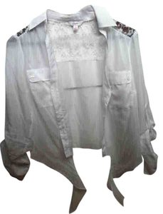 Candie's Blouse Button Down See Through Collar Front Pockets Pockets Top White with lace
