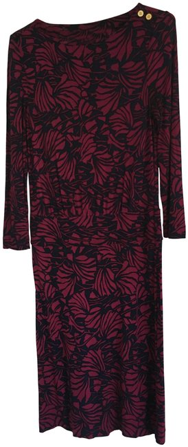 Item - Navy and Magenta Mid-length Work/Office Dress Size 4 (S)