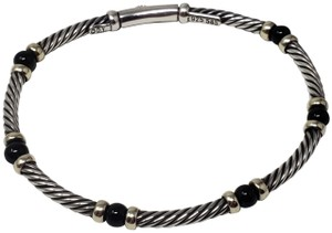 David Yurman Sterling silver David Yurman Hampton onyx station Cable bracelet