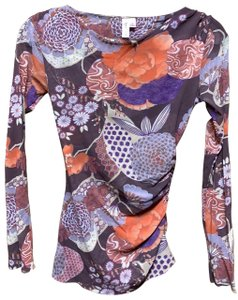 Sweet Pea by Stacy Frati Top Brown, orange, purple, lavender, and tan