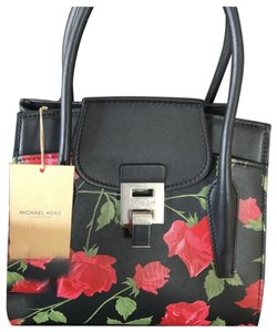 Michael Kors Collection Satchel in Black, Red (Rose print)