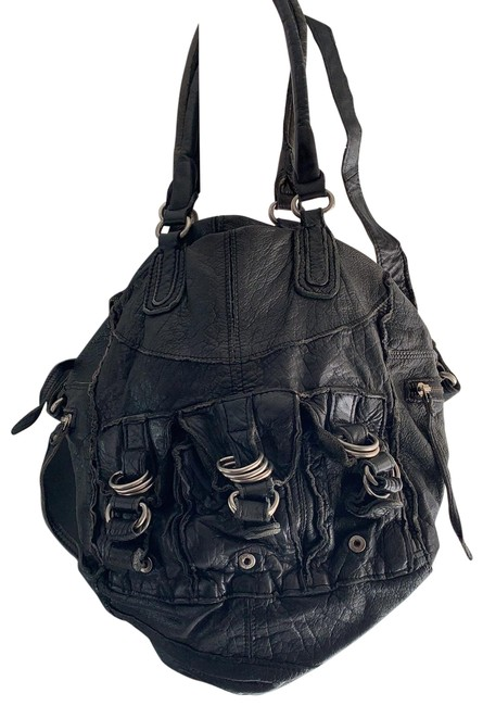 Item - Washed Satchel Black Leather Shoulder Bag