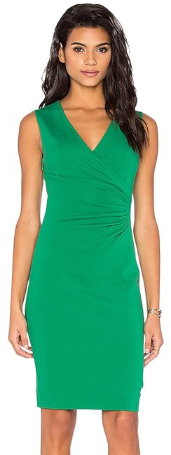 Item - Green Emerald Sea Layne Ruched Knit Sheath Mid-length Night Out Dress Size 14 (L)