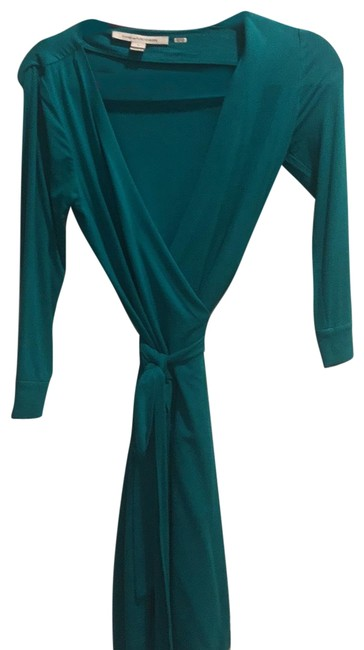 Item - Teal Dvf Mid-length Work/Office Dress Size 2 (XS)