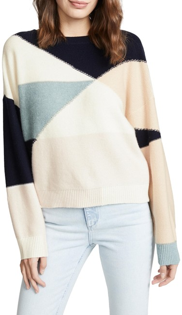 Item - Megu Colorblock Intarsia Knit Porcelain Multi Sweater