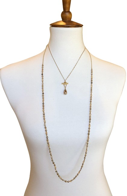 Item - Bronze/Gold New Pearl Mix Layered Necklace