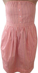 Pins and Needles short dress Pink, Coral, White Pinstripe Strapless on Tradesy