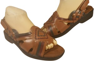 Dr. Scholl's Leather 8.5 BROWN GREY MAROON Sandals