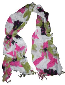 Unknown Purple Pink Green Floral Viscose Crinkled Scarf